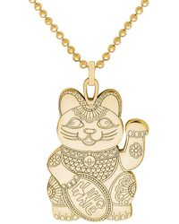CarterGore Medium Gold Lucky Cat Pendant Necklace - Metallic