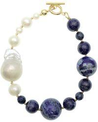 Farra - Freshwater Pearls & Round Lapis Bracelet - Lyst