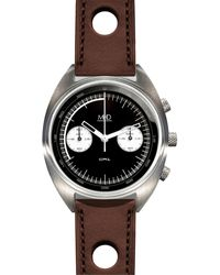 MHD Watches - Mhd Cr1 Reverse Panda Dial Chronograph Watch With Brown Strap - Lyst