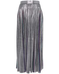 DANEH Silver Pleated Skirt - Multicolor