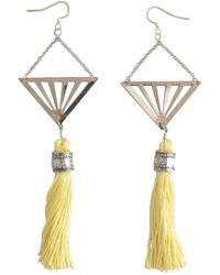 Tiana Jewel Cote D'azur Geometric Tassel Earrings Yellow & Silver - Metallic