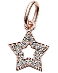 Kaizarin Diamond Studded Super Star Pendant In Rose Gold - Metallic