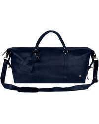 MAHI Leather Long Armada Duffle Weekend Holdall Bag In Navy - Blue