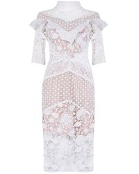 True Decadence White Nude Crochet Lace High Neck Midi Dress