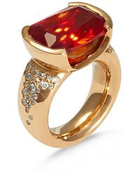 Hargreaves Stockholm 18ct Gold Orange Sapphire And Diamond Pavé Cocktail Ring - Metallic