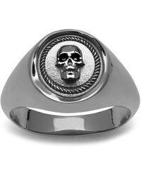 Northskull Atticus Skull Seal Pinky Ring In Gunmetal - Black