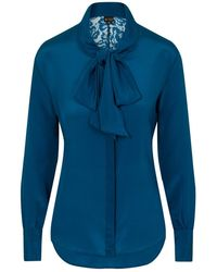 Sophie Cameron Davies Teal Silk Bow Blouse - Green