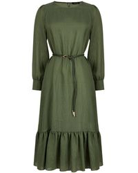 Nocturne Ruffled Midi Dress-dark Olive Green