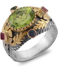 Emma Chapman Jewels Empress Peridot Blue Sapphire Ruby Ring
