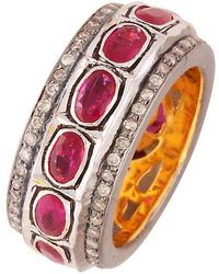 Kastur Jewels Classic Ruby Ring Band - Red