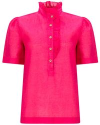Asneh Pink Daisy Frill Front Cotton Blouse