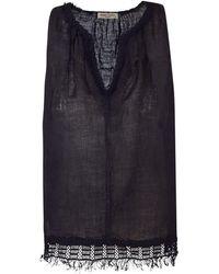 Haris Cotton Linen Gauze Top Flower Trimmed - Black
