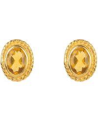 LÁTELITA London Birthstone Gold Gemstone Stud Earring November Citrine - Metallic