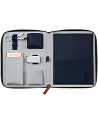 Stow International First Class Tech Case Sapphire Blue With White Usb And Gold Powerbank