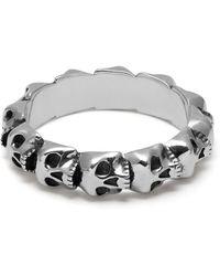 Northskull Medius Skull Band Ring In Oxidised Silver - Metallic