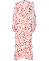 True Decadence Peach Orange Floral Wrap Midi Dress - Multicolour