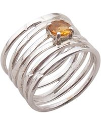 Elena Jewelry Concepts - Silver Wave Ring With Yellow Citrine - Lyst