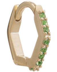 Rachel Jackson London Solid Gold And Green Tsavorite Hexagon Huggie Hoop