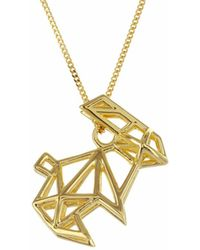 Origami Jewellery - Frame Rabbit Necklace Gold - Lyst