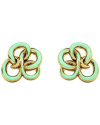 1986 - Wiggle Wiggle Memory Knot Stud Baby Green & Gold - Lyst