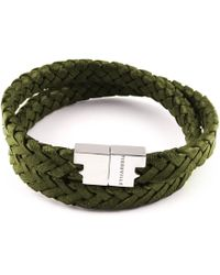 Tissuville Double Wrap Dark Green Silver Leather Bracelet Stark Bracelet