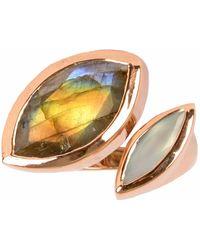 Neola   Celestine Rose Gold Ring Labradorite   Lyst