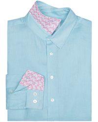 Pink House Mustique Mens Linen Shirt Pale Blue