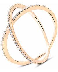 Cosanuova Dainty X Diamond Ring 18k Rose Gold - Metallic