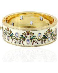 Artisan 18kt Yellow Gold Natural Diamond Tanzanite Flower Print Enamel Bangle Women Jewelry - Metallic