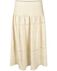 STUDIO MYR Sweety Calf-length Bohemian Chic Knitted Skirt - White