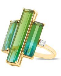 Trésor Green Tourmaline & Diamond Ring Band In 18k Yellow Gold