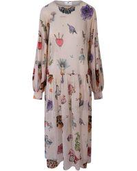 Klements Dusk Dress In Tattoo Print / Cotton - Multicolour