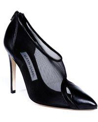 Alexis Isabel Stella Black Mesh Leather Court Shoes