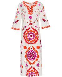 ADA KAMARA Long Suzanni White Orange Dress
