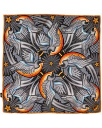 Furious Goose - We Are On A Journey Silk Pocket Square Silver - Lyst