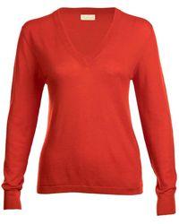 Asneh Poinciana Red Mathilda V-neck Cashmere Sweater