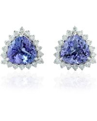 Artisan Triangle Shape Stud Earring 14kt White Gold Genuine Diamond Tanzanite Jewellery - Multicolour