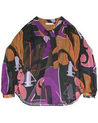 TOMCSANYI Greta Grid Numbers Print Sheer Blouse - Multicolor