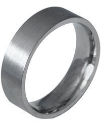 Edge Only 9ct White Gold Flat Matt Comfort Fit Ring 6mm A Mens Heavy Weight Band With A Matte Satin Finish