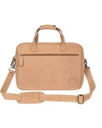 "MAHI - Compact Leather Satchel Bag With 13"" Laptop Capacity In Vintage Cognac - Lyst"