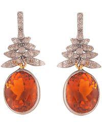 Kastur Jewels Delicate 1920s Inspired Diamond & Citrine Drop Earrings - Metallic