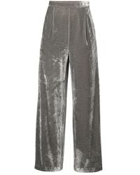 Paisie - Velvet Palazzo Trousers With Side Zip In Grey - Lyst