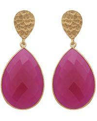 Carousel Jewels - Double Drop Fuchsia Chalcedony & Gold Nugget Earrings - Lyst