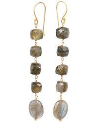 Mirabelle Bella Five Stone Earrings With Labradorite - Grey