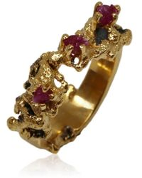 Karolina Bik Jewellery Out Of The Sea Ring With Raw Rubies - Metallic