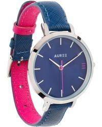 Auree - Montmartre Silver Watch With Royal Blue And Hot Pink Strap - Lyst