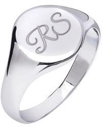 Kaizarin Initial Signet Ring For Men Or Women Size T - Metallic