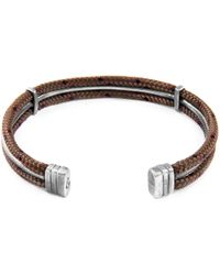 Anchor & Crew - Brown Aire Silver & Rope Bangle - Lyst