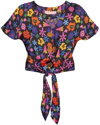 TOMCSANYI Palma Tie Front Button Top 'doodle Flower' - Multicolor