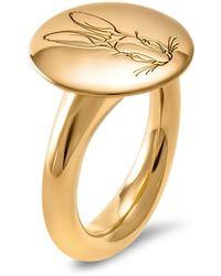 Hargreaves Stockholm Bracteate 18ct Gold Engraved Signet Ring - Metallic